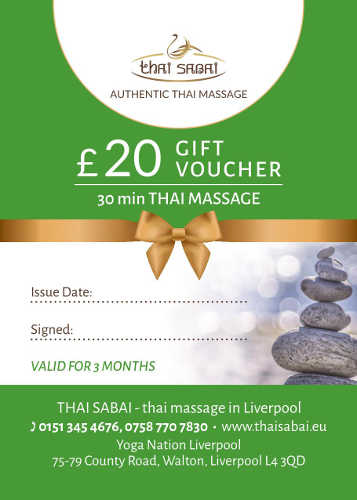 30 min gift voucher for thai massage